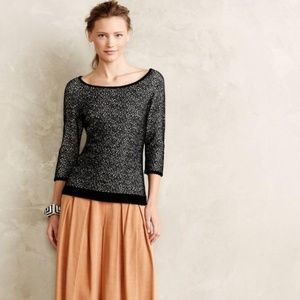 Anthro Moth Black White 3/4 Sleeve Spotted Sweater